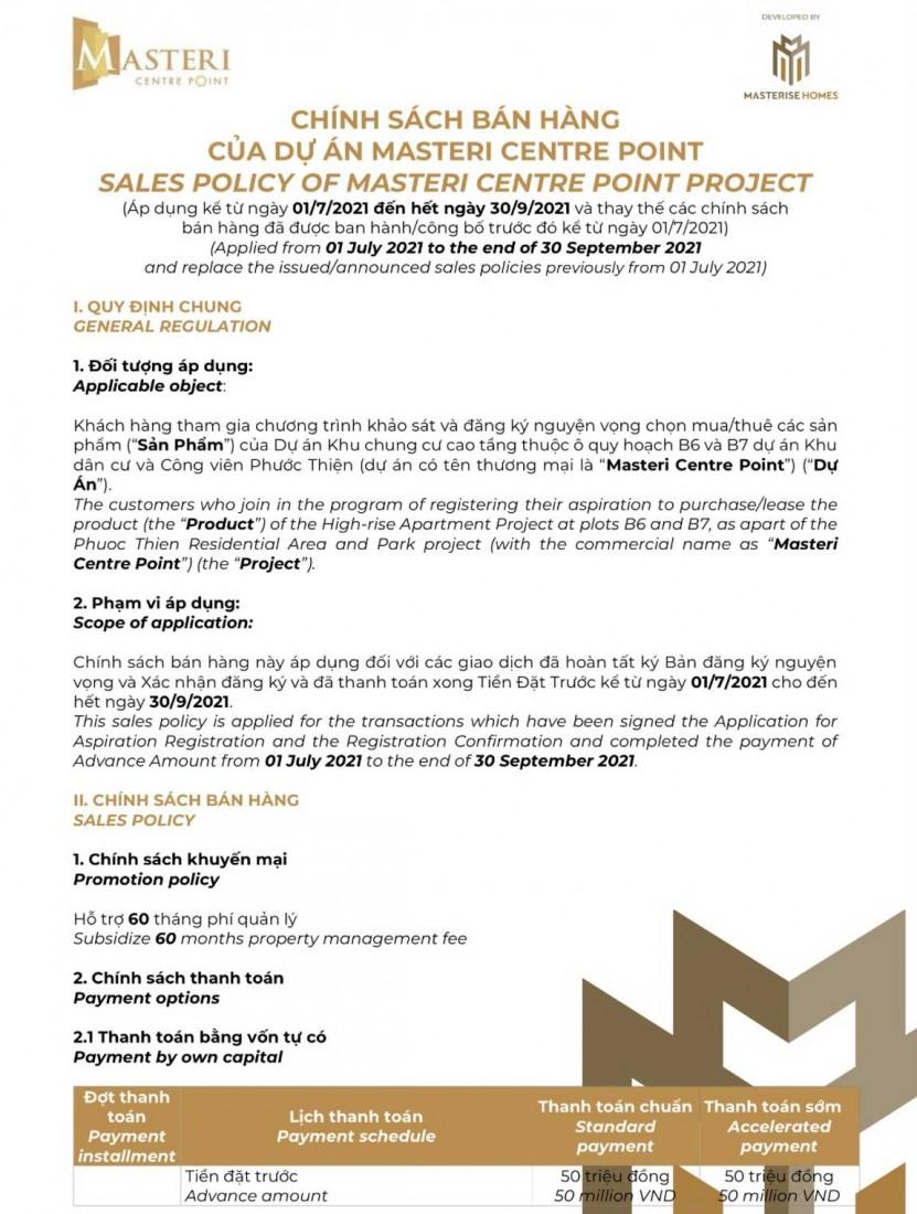 Chính sách Masteri Centre Point 1