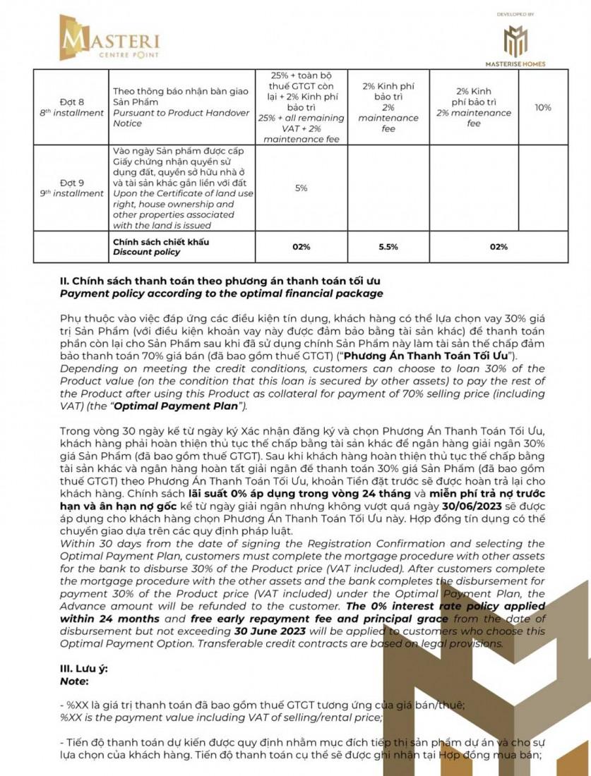 Chính sách Masteri Centre Point 7