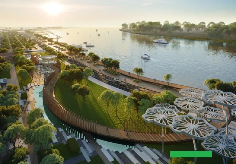 Khu công viên xanh được xây dựng với quy mô rộng lớn