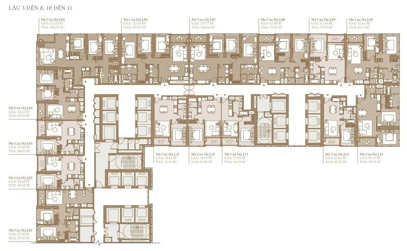 Mặt bằng chi tiết tầng 3 đến 8 của tòa Legacy SEA