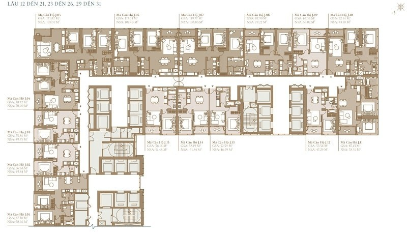 Mặt bằng tầng 12 đến 21 điển hình của tòa Legacy SEA