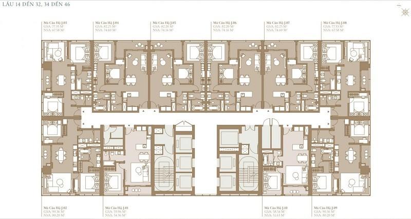 Mặt bằng tầng 14 đến 32 tòa tháp