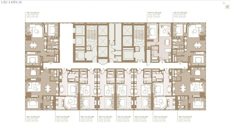 Mặt bằng tầng 4 đến tầng 10 điển hình của tòa Lagoon