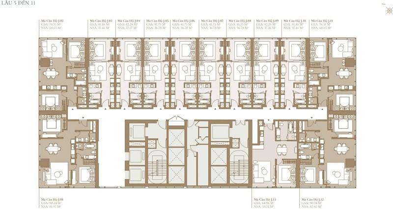Mặt bằng tầng 5 đến 11 tòa tháp Legacy Cove