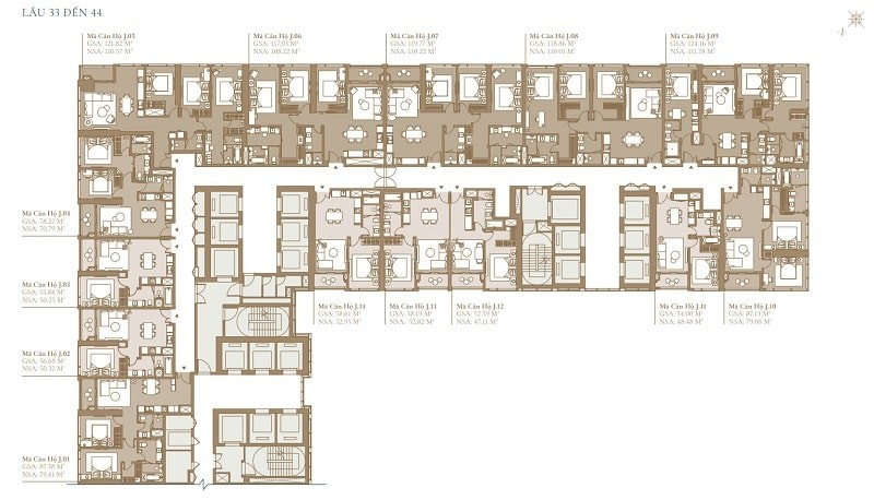 Mặt bằng thiết kế chi tiết tầng 33 đến 44