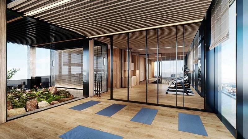 Phòng gym hiện đại với đầy đủ trang thiết bị hỗ trợ tập luyện