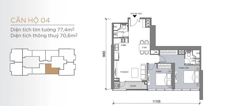 Mặt bằng điển hình mẫu căn hộ 2 phòng ngủ One Central SaiGon