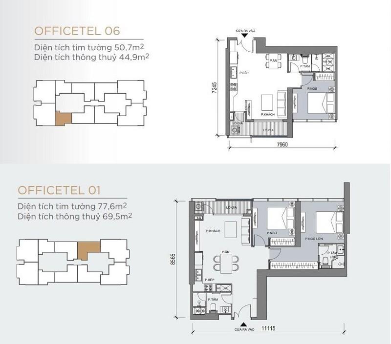 Mặt bằng điển hình mẫu căn hộ Officetel 1 phòng ngủ và 2 phòng ngủ One Central SaiGon