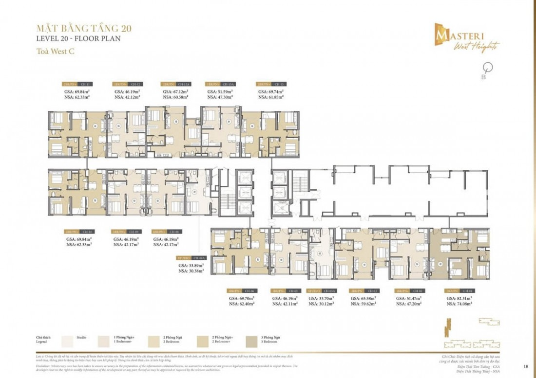 Chi tiết layout tầng 20 tòa tháp Z dự án