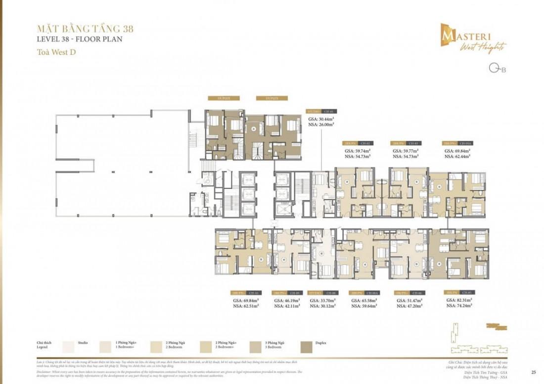 Chi tiết layout tầng 38 tòa tháp Z Block chung cư D