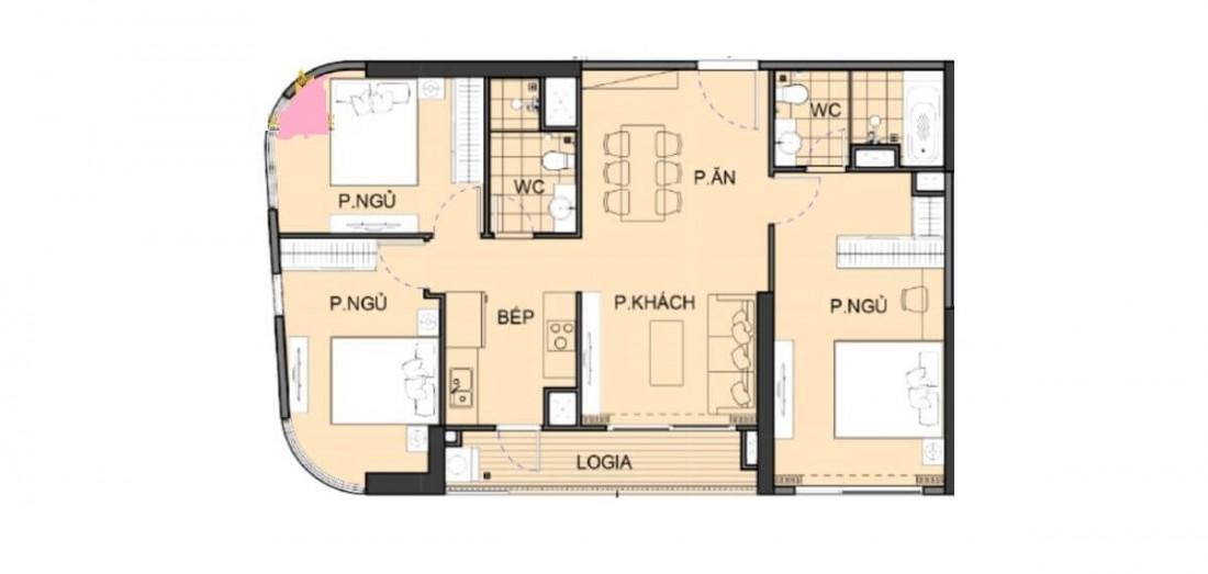 Chi tiết mặt bằng xây dựng điển hình căn hộ 3 phòng ngủ The Beverly