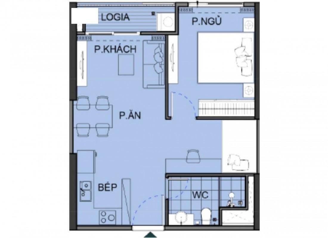 Chi tiết mặt bằng xây dựng điển hình cho căn hộ 1 phòng ngủ The Beverly