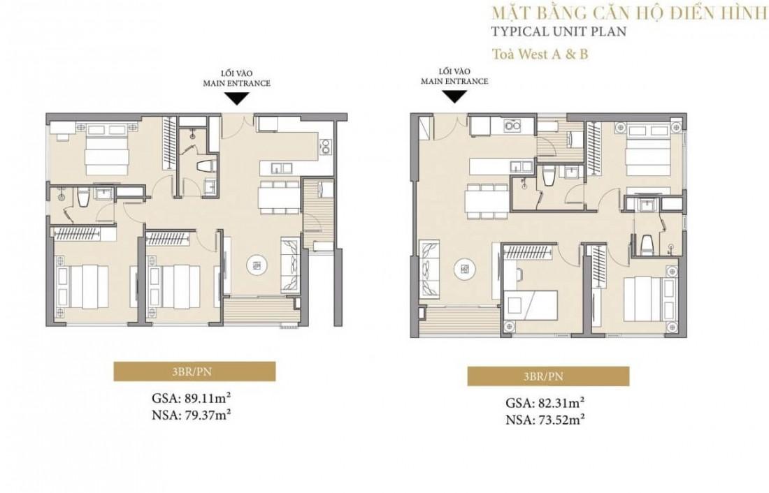 Mặt bằng điển hình căn 3 phòng ngủ