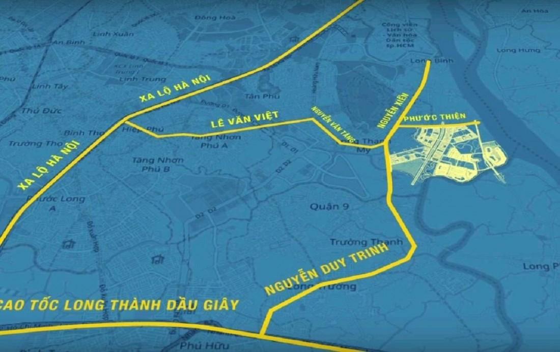 The Beverly Vinhomes Grand Park kết nối với nhiều tuyến đường lớn